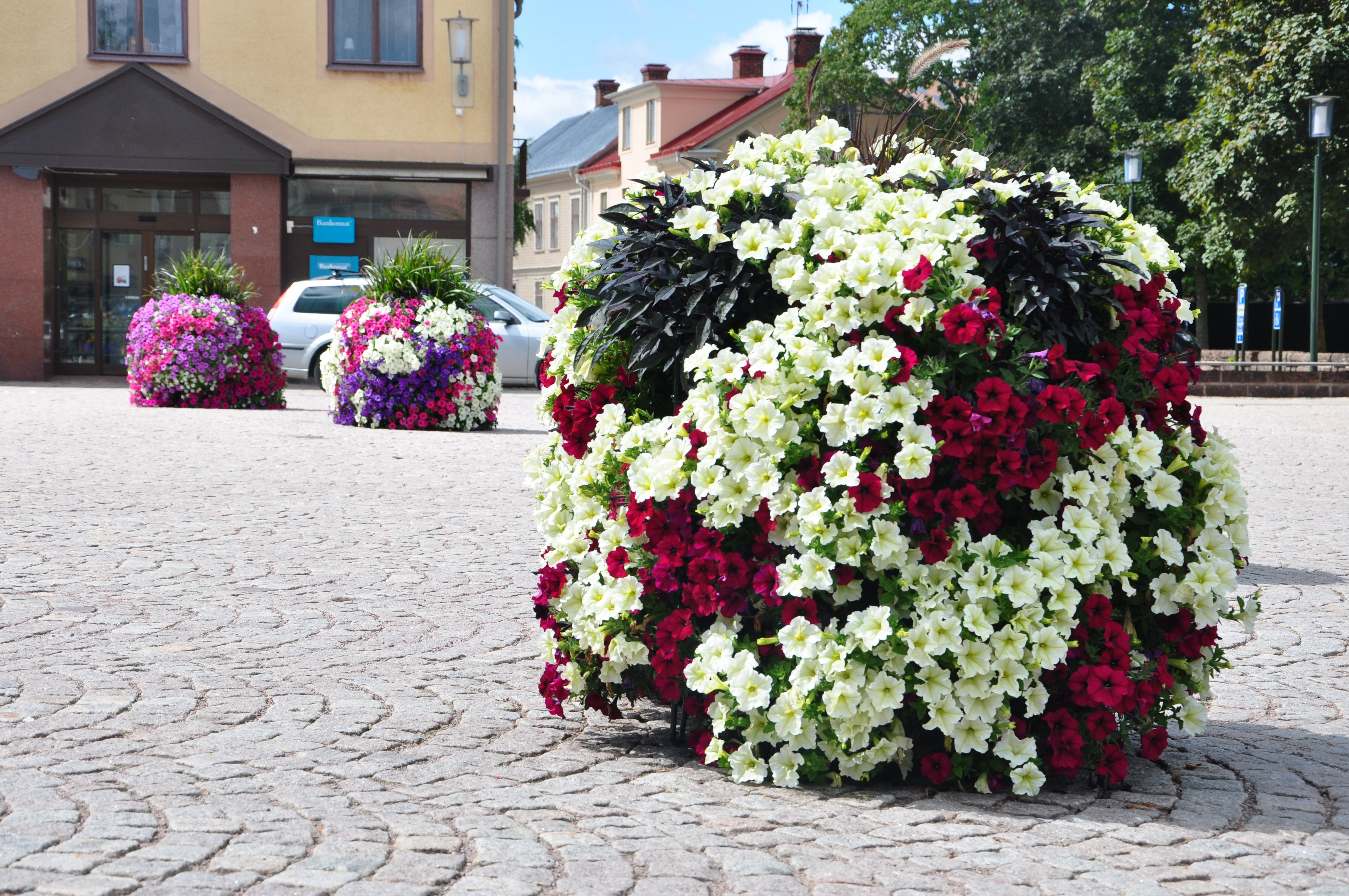 Blomkub på torg med kullersten