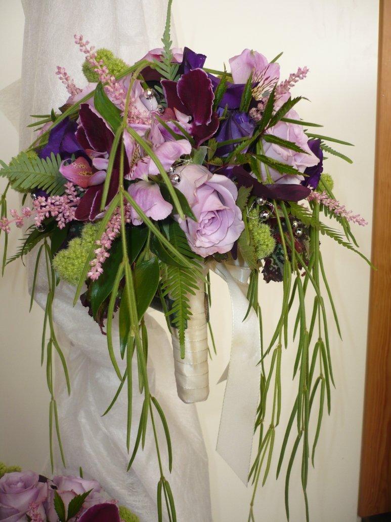 brudbukett, lila nyanser