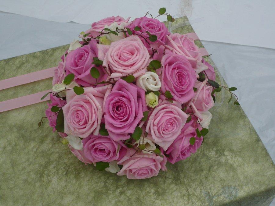 brudbukett, rosa rosor